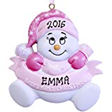 Personalized Baby's First Christmas Girl Snowman Ornament - Free Personalization
