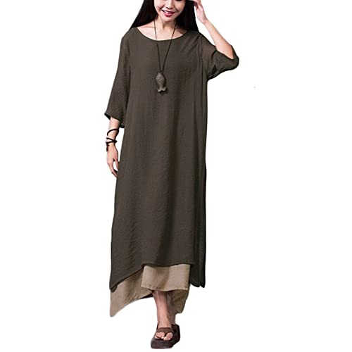 Romacci Women Vintage Chinese Style Cotton Linen Loose Boho Long Dress