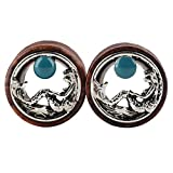 SoundsBeauty 1 Piece Unisex Wood Ear Plug Hollow Mermaid Pattern Ear Tunnel Ear Gauge Body Piercing Jewellery 10mm