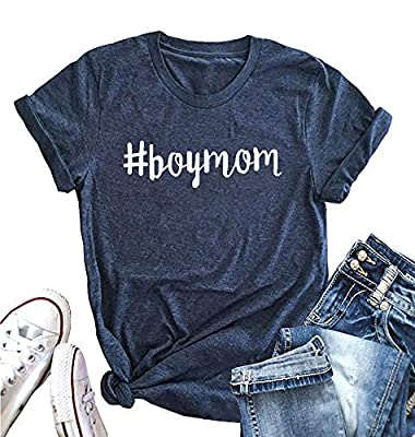 Boy Mom Shirt for Women Funny Letter Printed Short Sleeve Summer Casual Tops Tee Shirt