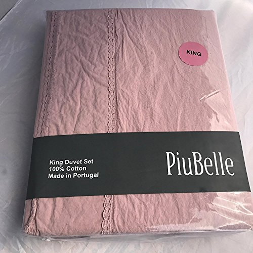 Piu Belle Made In Portugal Queen Blush Dusty Rose 100% Egyptian Cotton Duvet with Lace Trim Detail Three (3)-Piece (3 Piece Lace Trim)