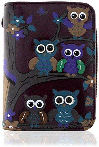 Kukubird Owl Family Tree en ramas patrón Medio damas monedero embrague Purple