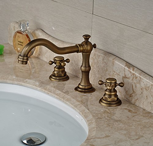 Rozin Antique Brass Widespread 3 Holes Bathroom Sink