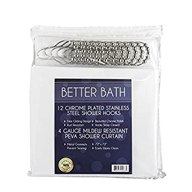 Shower Curtain Hooks and Shower Liner - 72  x 72  4 Gauge PEVA Shower Curtain Liner with Metal Grommets, Mildew-Free - 12 Rust-Resistant, Stainless Steel Gliding Shower Curtain Rings