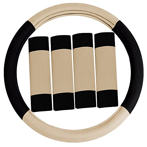 FH Group FH2033 Modernistic Steering Wheel Cover and Seat Belt Pads Beige Color-Fit Most Car, Truck, Suv, or Van by FH Group