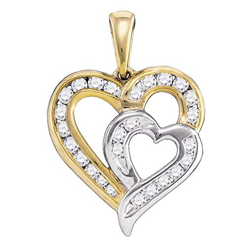 Dazzlingrock Collection 10kt Yellow Gold Womens Round Diamond Heart 2-tone Pendant 1/3 Cttw