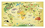 Lunarable Africa Doormat, Educational World Map Africa America Penguins Atlantic Pacific Animals Australia, Decorative Polyester Floor Mat with Non-Skid Backing, 30 W X 18 L inches, Multicolor