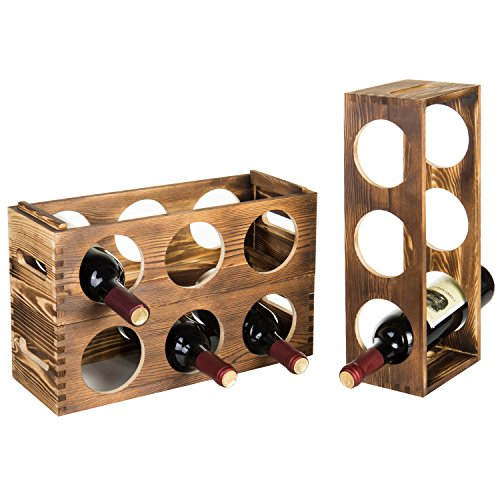 Countertop 3-Bottle Modern Stackable Burnt Wood Wine Storage Racks, Set of 3