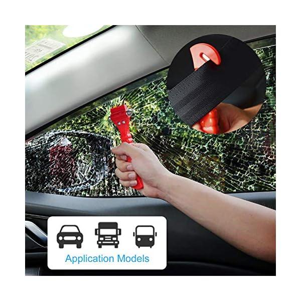 Martillo de Seguridad para Automóviles 2 en 1 Herramienta de Escape de Emergencia con Romper la Ventana de Coche y Cortador de Cinturón de Seguridad para Autobús Tren para Salvar la Vida 2 Piezas 4