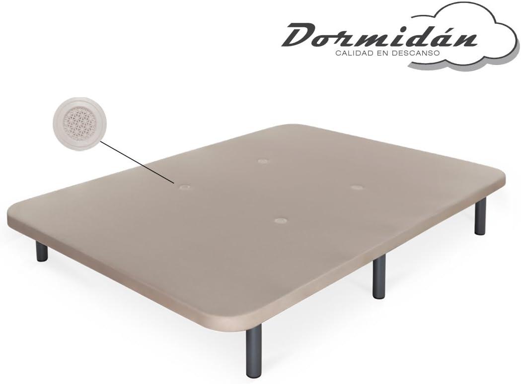 Dormidán - Base tapizada con Tejido 3D y válvulas de aireación + 6 Patas Acero 26cm, Refuerzo Central, Medida 150x190cm