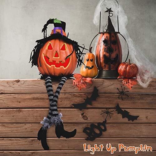 Halloween Light Up Pumpkin Lantern 17.32 Inches, Jacko Lantern Foam Pumpkin for Halloween Decorations, Backyard, Lawn or Garden Decorations, Halloween Party Supplies