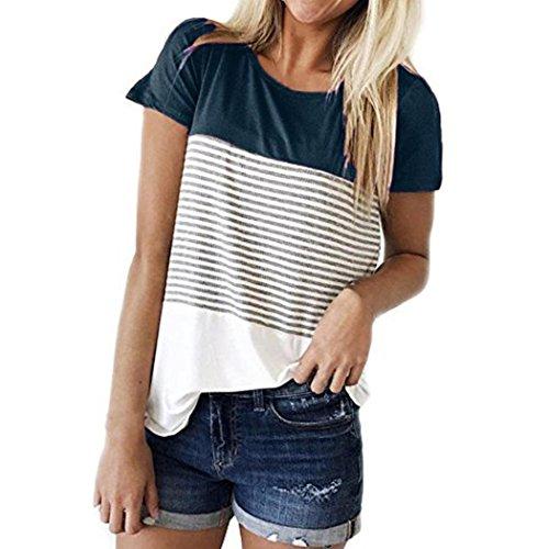 FEITONG Women Short Sleeve Round Neck Triple Color Block Stripe T-Shirt Casual Blouse(Medium,Navy)