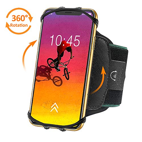 (BOVON 360°Rotatable Phone Armband, Super Breathable Sports Arm Band for iPhone X/XS/XR/XS Max/8//7/6/6S Plus, Galaxy S10/S9/ S9 Plus/S8, Running Armband with Key Holder for Hiking Biking (Black))