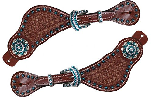 showman-ladies-size-basket-weave-tooled-spur-straps-accented-with-teal-crystal-rhinestone-conchos-an