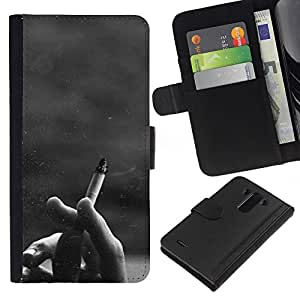 WINCASE Cuadro Funda Voltear Cuero Ranura Tarjetas TPU Carcasas Protectora Cover Case Para LG G3 - cigarrillo negro inconformista blanco