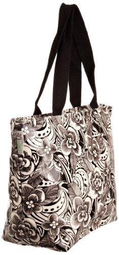 Re-uz Medium Oilcloth Tote Monochrome Abstract - Bolso de tela para mujer blanco - blanco/negro