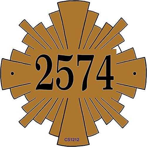 [해외]컴 포트 하우스 주소 플 라크-독특한 스타 버스트 모양 집 번호 기호 # P2450 / Comfort House Address Plaque - Unique Starburst Shape House Number Sign P2450