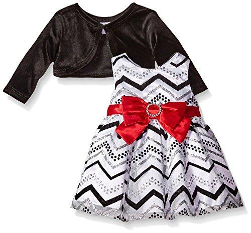 Youngland Baby Girls' 2 Piece Dress Chevron Print Dress with Cardigan, White/Black, 24 Months