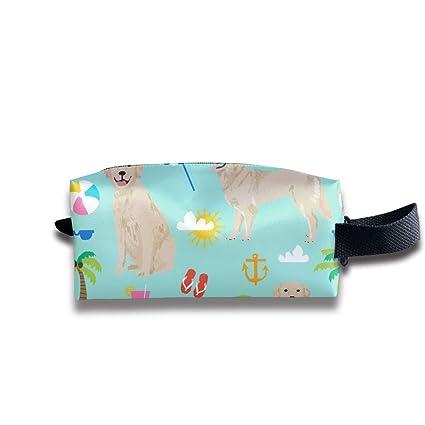 Golden Retriever Beach Fabric Tela para perros de verano Golden Retrievers Fabric_772 Bolsas de cosméticos para