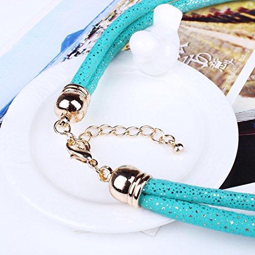 Qiyun Bling Serpent Mousseux Corde De La Peau Moelle Pieces Rondes a Facettes Bib Femmes Collier Bleu
