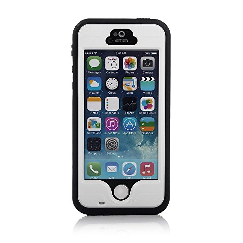 iPhone 5S Waterproof Case, Bessmate IP 68 Waterproof, Dustproof, Snowproof, Shockproof Protrctive Carrying Cover Cases with Fingerprint Recognition Touch ID for iPhone 5S (White) by Bessmate™ (Image #1)