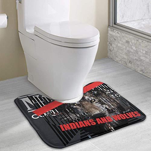 Indians and Wolves Belief Faith Dangerous Bath Rugs,U-Shaped Bath Mats,Soft Foam Bathroom Carpet,Nonslip Toilet Floor Mat 19.2″x15.7″