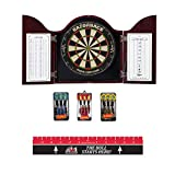 Game Room Guys Arched Mahogany Steel Tip Dart Board Cabinet Package