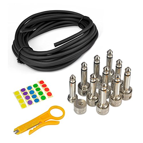 "Pyle Audio Guitar Pedal Board Patch Cable Kit - 10' Cord Coil with 10 1/4"" TS Right Angle Mono Plugs"