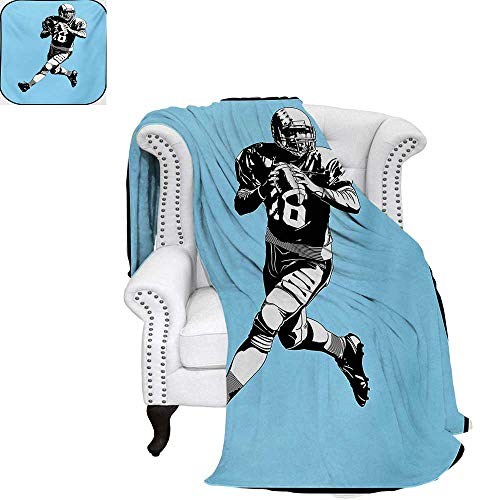 (warmfamily Sports Summer Quilt Comforter American Football League Game Rugby Player Run Original Retro Illustration Digital Printing Blanket 62
