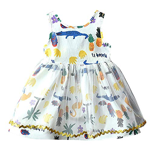Vovotrade Children Toddler Baby Girl Crocodile Pineapple Printed Mesh Vest Dress Sundress Princess Dress White -
