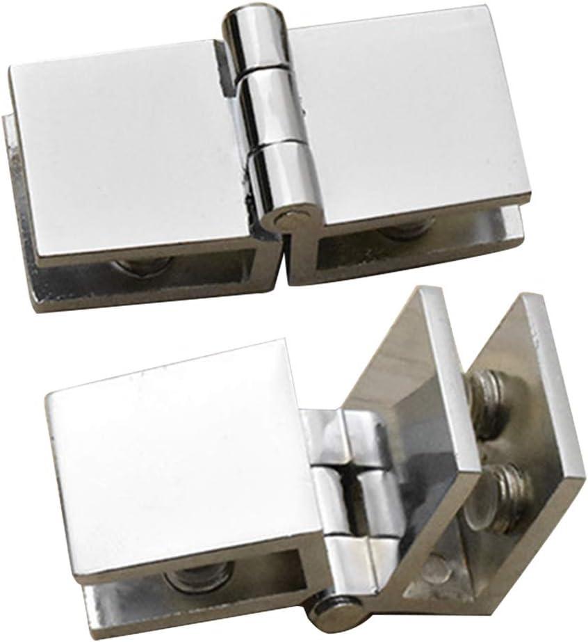 zinc duradero abrazadera de cristal para el hogar pr/áctico clip bilateral muebles f/ácil de instalar Bisagra para puerta de 90 180 grados ba/ño armario