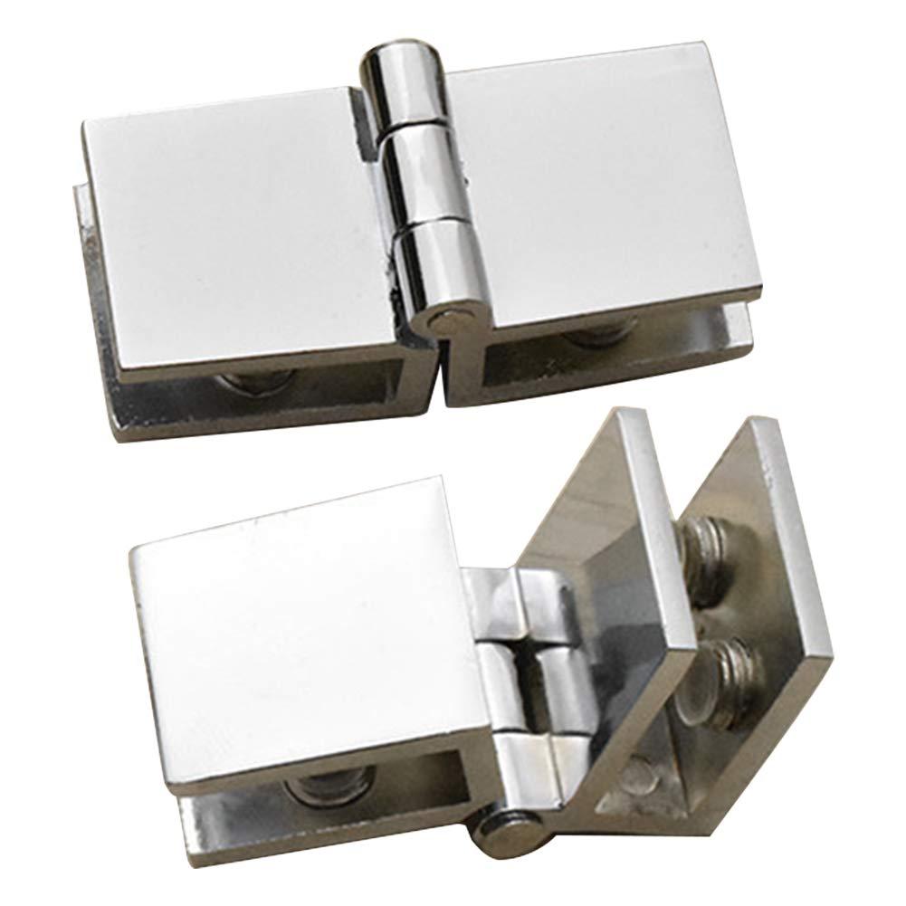 Bisagra para puerta 90 180 grados Pr/áctico broche bilateral de zinc f/ácil de instalar durable muebles de hogar ba/ño armario abrazadera de cristal 90 grados
