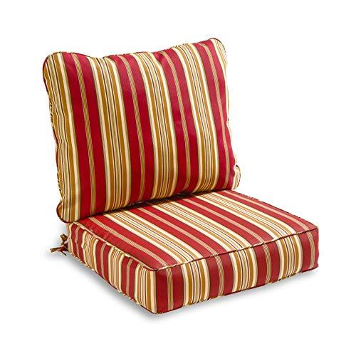 South Pine Porch AM7820-ROMASTRIPE Roma Stripe 2-Piece Outdoor Deep Seat Cushion Set (Iron Sofa Wrought Patio)