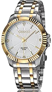 Mens Classic Style Silver Golden Stainless Steel Mens Wrist Watches with Crystals For Man White