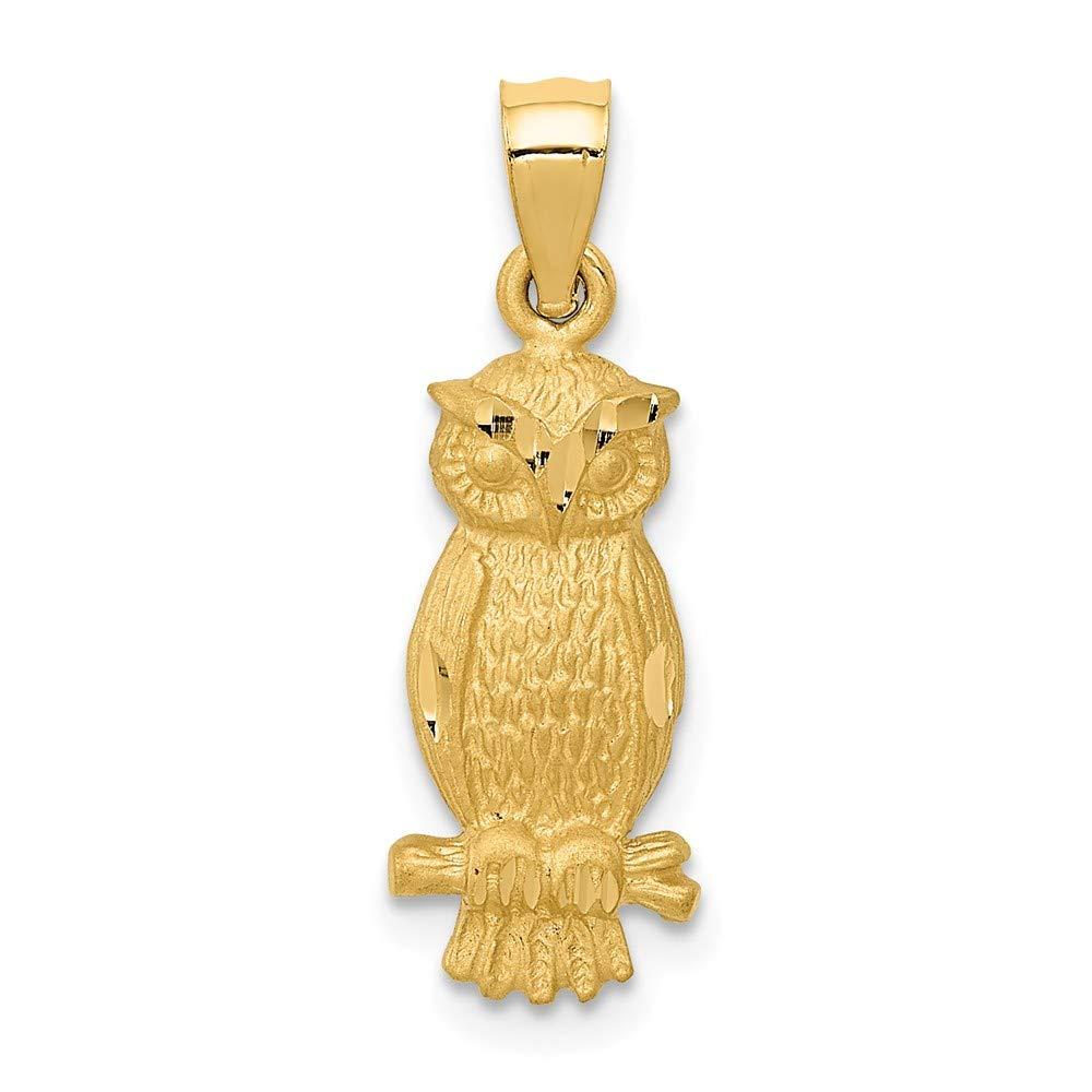 Mia Diamonds 14k Yellow Gold Satin Diamond-cut Owl Pendant