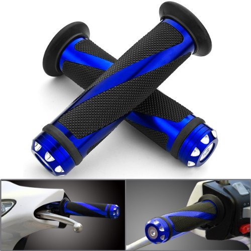 Billet Sliders (Astra Depot 2pcs Universal Blue Motorcycle Grips with Billet Aluminum Bar End Cap Plug Slider For 7/8)