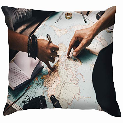 Close View Man Woman Pointing Places Travel People Pillow Case Throw Pillow Cover Square Cushion Cover 26X26 Inch