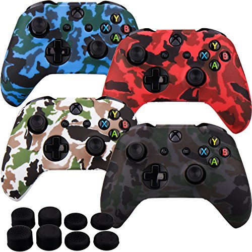 Camouflage Black Silicone (MXRC Silicone rubber cover skin case anti-slip Water Transfer Customize Camouflage for Xbox One/S/X controller x 4(black & white & red & blue) + FPS PRO extra height thumb grips x 8)