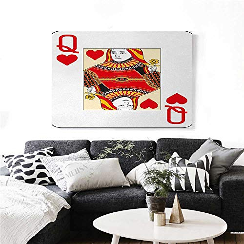 """homehot Queen Modern Canvas Painting Wall Art Queen of Hearts Playing Card Casino Design Gambling Game Poker Blackjack Art Stickers 32""""x24"""" Vermilion Yellow White"""