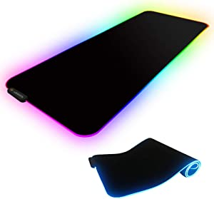 """1d5fed06ca8 ENTER Dogain Gaming RGB Mouse Pad with LED Lighting,Soft Non-Slip Rubber  Base Computer Gaming Mousepad Mice mat Large Size(31"""" x 11.8"""") imgproduct"""