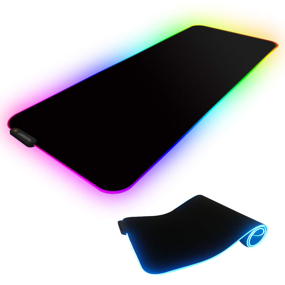 Dogain Gaming RGB Mouse Pad with LED Lighting,Soft Non-Slip Rubber Base Computer Gaming Mousepad Mice mat Large Size 31 x 11.8