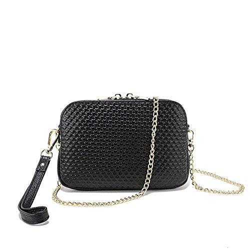 Sacs à main en cuir véritable pour les femmes designer sac à bandoulière en cuir souple en relief amour diagonale cross sac chaîne petit sac carré Black