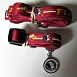 Florida State University Seminoles Pet Set Dog Leash Collar ID Tag MEDIUM