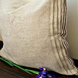Natural Linen Pillow Sham with Decorative Pleats-Standard, Queen, King, Euro Sizes -Natural, White or Grey Colors