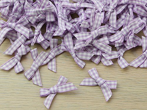7mm Gingham Check Ribbon Bows Lilac - each