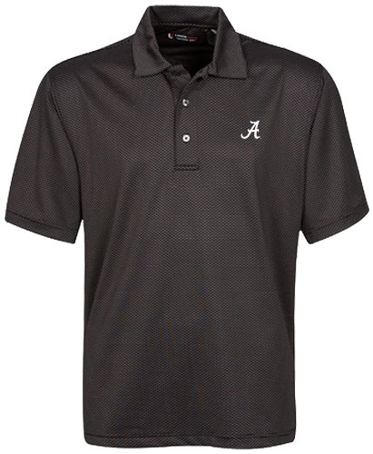 (NCAA Alabama Crimson Tide Men's Stretch Tonal Jacquard Techno Dry Polo, Black, Large)