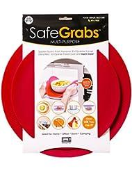 Safe Grabs: Multi-Purpose Silicone Original Microwave Mat as Seen on Shark Tank | Splatter Guard, Trivet, Hot Pad, Pot Holder, Minimize Mess (BPA Free, Heat Resistant, Dishwasher Safe), Set of 2, Red