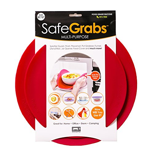 Safe Grabs Seen on Shark Tank: Multi-Purpose Silicone Microwave Mat, BPA Free Kitchen Tool, Set of 2, - Microwave Cover Silicone