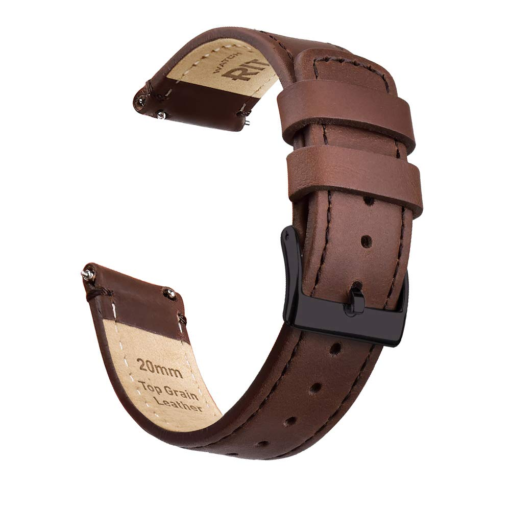 Ritche 22mm Quick Release Leather Watch Band Dark Brown Genuine Leather Watch Strap with Black Buckle for Men by Ritche