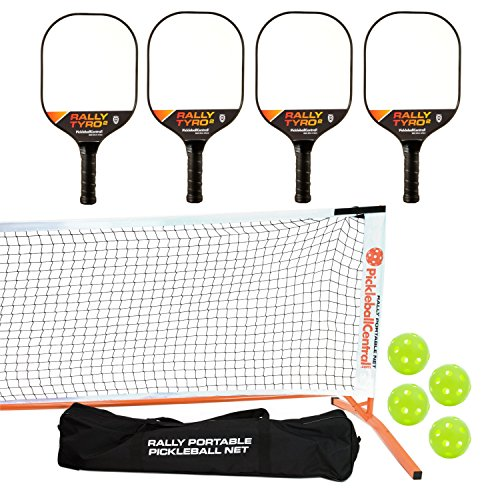 - PickleballCentral Rally Tyro 2 Pickleball Paddle, Portable Net and Ball Set (Includes Rally Style Free Standing Metal Frame & Net + 4 Composite Paddles + 4 Balls + Rules Sheet in Carry Bag)